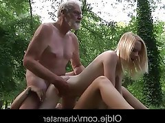 Old and Young, Outdoor, Teen, Threesome
