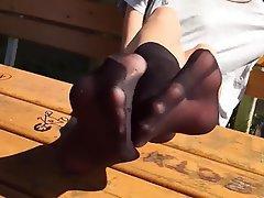 Fuß Fetisch, Strumpfhose, Freien, Strümpfe