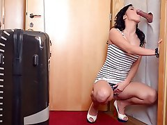 Blowjob, Brunette, Gloryhole